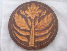 """(*_*) Vintage 9 7/8"""" Carved Wooden Butter Mold Cookie Springerle Flower Leaves #NaivePrimitive #Unbranded"""