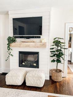 Above Fireplace Decor, Fireplace Tv Wall, Bedroom Fireplace, Farmhouse Fireplace, Fireplace Remodel, Living Room With Fireplace, Fireplace Design, My Living Room, Living Room Decor