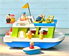 I loved this as a child!  Fisher Price House Boat with diving board on the back and the life jackets that went around the little people's waists!