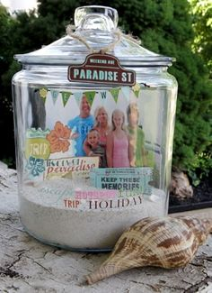 Showcase a family vacation or memory in a jar. Interesting alternative to a shadow box.   -Inspiring Pretty Blog