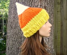 10% Off - Hand Knit Hat Womens Hat - Candy Corn Hat - Back To School Fall Fashion Autumn Fashion. $27.00, via Etsy.