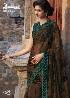 Unforgettable diamond studded marvel chiffon drape is made up of elegant prints, lace & blouse.
