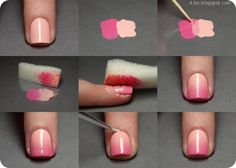 Looking for cool nail art ideas and nail designs you can do at home? Nail polish painting tutorials and at home manicure tips for easy, pretty DIY nails. Cute Nail Art, Nail Art Diy, Easy Nail Art, Diy Nails, Cute Nails, Pretty Nails, Faded Nails, Gradient Nails, Ombre Nail