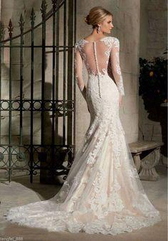 White/Ivory Mermaid Wedding Dress Bridal Gown Custom Size 4 6 8 10 12 14 16 18++