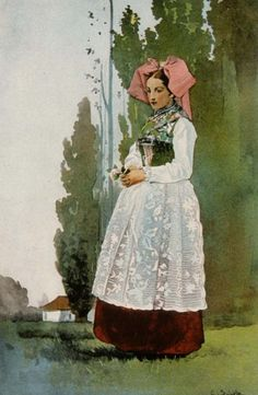 Jeune fille de Geispolsheim en costume de fête; C. Spindler