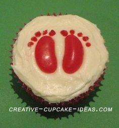 foot print cupcakes... How cute for a baby shower!
