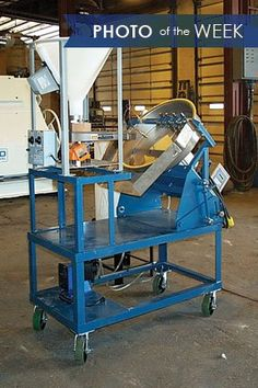 This photo shows a 24 inch disc pelletizer with a vibratory feeder, liquid storage tank, pump and movable base. This pelletizer was built for a proprietary company to use for testing purposes. Photos Of The Week, Storage, Pump, Lab, Purse Storage, Larger, Pump Shoes, Labs, Pumps