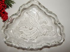 Angel Candy Dish Clear and Frosted Glass Serving Tray Vintage Christmas…