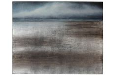 """""""Silver Sea"""" handpainted gallery wrap canvas with silver leaf finish and charcoal edges.  by Patrick St. Germain"""
