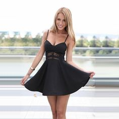 """Beautiful spaghetti strap flared mini dress. The core comes with a mesh design that is known to get people asking you where you got your dress from. The flared bottoms make you look like a princess! One of our favorite designs! ---------------- FREE SHIPPING Get 15% off! Use Code """"SUMMER"""" ---------------- See something you like? Contact us! ------------ #torontostyle #torontofashionblogger #fashionworld #shoptoronto #canada #proudlycanadian #madeincanada #the6 #the6ix #hamsabracelet…"""