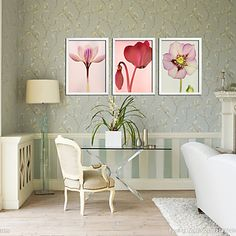 Różowy Narcyz Floral Oprawiona Canvas Zestaw 3 - EUR € 67.04