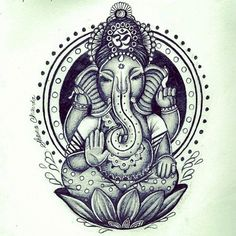 ganesh tattoo. I've always loved Indian art, an this has been a favorite tattoo idea for years.