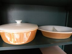 Fire King Peach Luster Casserole Divided by Traincasesandmore