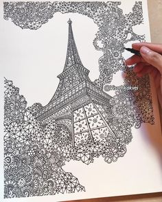 Architecture - Paris - Eiffel Tower. Detailed Drawings with many Styles. By Visoth Kakvei.