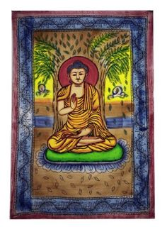 Buddha Meditating Under Bodhi Tree Tapestry — GoodsVine Tree Tapestry, Indian Tapestry, Tapestry Wall Hanging, Buddha Zen, Buddha Meditation, Buddha Decor, Bodhi Tree, Mandala Print, Hindu Art