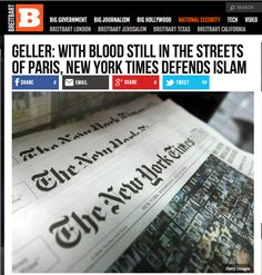 Geller in Breitbart: With Blood Still in the Streets of Paris, New York Times Defends Islam