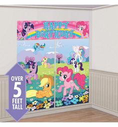 Our My Little Pony Scene Setter. This vibrant My Little Pony wall decoration features popular My Little Ponies playing on a prairie full of wildflowers. My Little Pony Scene Setter is reusable and good for indoor and outdoor use. Fiesta Little Pony, My Little Pony Cumpleaños, My Little Pony Friendship, My Little Pony Birthday Party, Birthday Party Themes, Girl Birthday, Birthday Ideas, Birthday Decorations, Birthday Wall