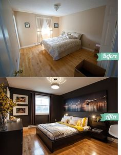 13 Perfect Bedroom Renovation With Before And After Picture Bedroom Makeover Before And After, Master Bedroom Makeover, Bedroom Makeovers, Small Master Bedroom, Home Bedroom, Bedroom Decor, Bedroom Ideas, Bedroom Layouts, Bedroom Lighting