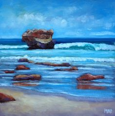 Day 26 of the 30 paintings in 30 days challenge. 'Aireys Inlet Rocks' I love the shapes and colours of these rocks. The sea really looks this turquoise and it's intriguing to watch the waves crashing onto the rocks and swirling around. 30 Day Challenge, The Rock, February, Rocks, Challenges, Waves, Australia, Colours, Paintings