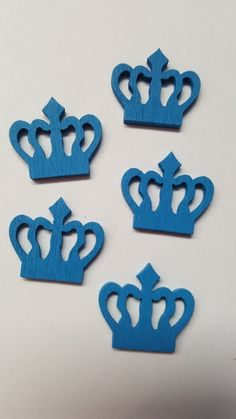 10 x Painted Wooden Shapes - 23mm - Crown - Royal Blue