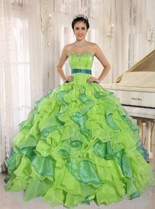 df6006c1397 Multi-color Sweetheart Quinceanera Gown With Appliques and Sash Ruffled Sweet  15 Dresses