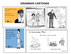 FREE PRINTABLE with grammar cartoons and follow-up activity!