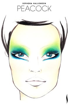 Need a #Halloween look? Get inspiration from the Peacock face chart created by our talented #Sephora artists. #SephoraSelfie