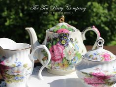 tea pot made in England, bone china mismatched sugar & milk bowl