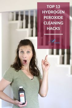 13 amazing home cleaning hacks with hydrogen peroxide. Clean your toothbrush, stainless steel appliances, granite, dishes while also removing mold, dust mites, and clothing stains. #homeviable #hacks #cleaning #hydrogenperoxide Bathroom Cleaning Hacks, House Cleaning Tips, Cleaning With Hydrogen Peroxide, Cleaning Stainless Steel Appliances, All Natural Cleaning Products, Bleach Alternative, Stain On Clothes, Natural Detergent, Best Cleaner