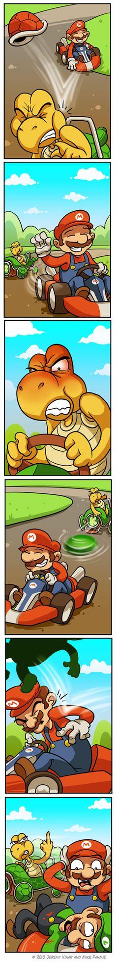 Take that motherfu***r! With Green Koopa, Luigi (corpse) and Mario.