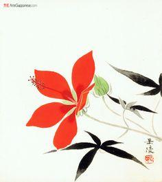 """LUGLIOvediamo raffigurato un grande fiore a cinque petali, di colore rosso scuro. La fioritura dell'ibisco coccineo si protrae da giugno fino ai primi freddi autunnali e in Giappone tale pianta viene indicata anche con i kanji """"momijiaoi"""" (紅葉葵) ad indicare che si tratta di una pianta della famiglia delle malvacee (葵) le cui foglie ricordano quelle dell'acero (紅葉).  Gakuryo Nakamura (1890 – 1969) è un pittore giapponese"""