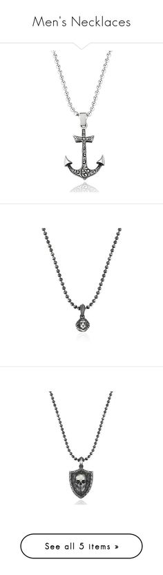 """Men's Necklaces"" by atolyestone ❤ liked on Polyvore featuring jewelry, necklaces, charm pendants, charm pendant necklace, silver chain necklace, silver anchor pendant, silver charm necklace, silver skull necklace, silver necklace and skull jewelry"