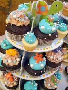 Under the Sea themed cupcake display