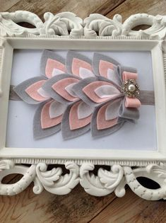 Pink White and Grey Wool Felt Flower Feather Pad Headband Newborn Photo Prop Baby Headband Toddler Headband Girls Headband