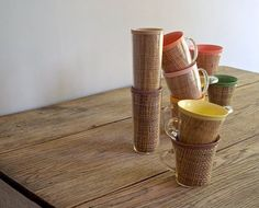 Vintage Collection of Raffia Beverage Cups 1960s70s by 5gardenias, $30.00