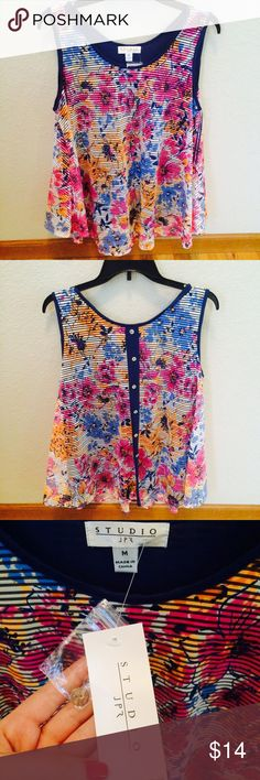 Studio JPR Multi-Color Tank Top NWT - Never used! Cute buttons down the back. Studio JPR Tops Tank Tops