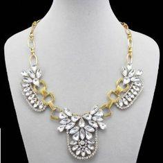 Antiqued Sparkle Inlaid Faux Crysta Rhinestone Luxury Bib Statement Necklace