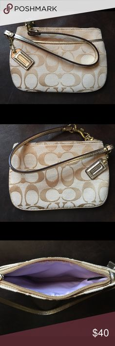 Gold/tan coach wristlet brand new!! Gorgeous tan with gold trim coach wristlet perfect for going out!! Brand new never used!! Coach Bags Clutches & Wristlets