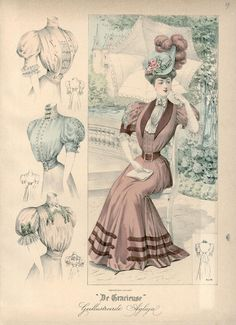 "Published in Dutch magazine ""De Gracieuse"" on October 5 1906. vintage fashion plate"