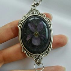 Dark goth real violet resin necklace