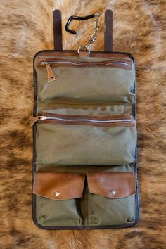 Leather Dopp Kits for Men - Riverton, Whiskey - Front View