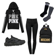"""All Black"" by khaelynnstyles ❤ liked on Polyvore featuring Proenza Schouler, NIKE, Victoria's Secret PINK, Moschino, women's clothing, women, female, woman, misses and juniors"