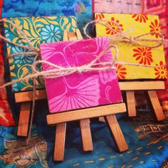 Three Cute Little Canvases in Colors of Your Choice, Matching Canvases, Lokta Paper, Mini Easels, Mini Art, Cute Gift on Etsy, $20.00