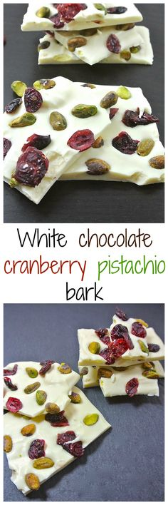 White chocolate melted and left to harden with pistachios and dried cranberries.