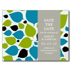Teal and Green Modern Leaf Save The Date Post Cards