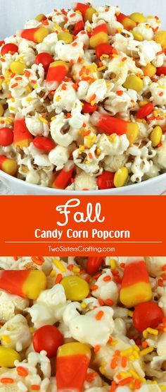 Fall Candy Corn Popcorn - a fun Halloween treat. Sweet, salty, crunchy and delicious and it is so easy to make. It would be a great Halloween Party Food or Fall movie night dessert! Pin this Fall Dessert for later and follow us for more fun Halloween Food ideas.