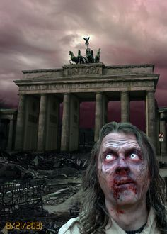 Back to the Future. This is Berlin in 2031. Only a destroyed Zombieland.  Here is the story:  http://www.youtube.com/watch?v=A8YNEJM-GSU  Tags: Zombie , zombie apocalypse , zombie inferno , apocalyptic , photo montage , brandenburger tor , deutschland , germany , 2014 , 2015 , zombie run , zombie walk , stuff , undead , walking dead , re animator , war , photoshop , my secret island