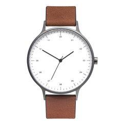 B302 Gunmetal Grey Watch On Tan Leather Strap