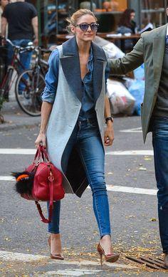 maneiras de usar um colete oversized, looks, inspiração, Olivia Palermo