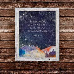 John Muir Quotes, Wiccan Decor, Barn Wood Frames, Irish Blessing, Art Prints Quotes, Milky Way, Art Logo, New Art, Watercolor Art